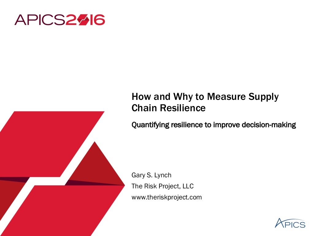 How and Why to Measure Supply Chain Resilience